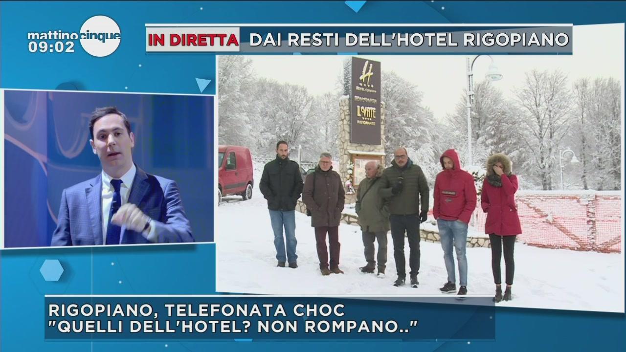 In diretta dai resti dell'hotel Rigopiano