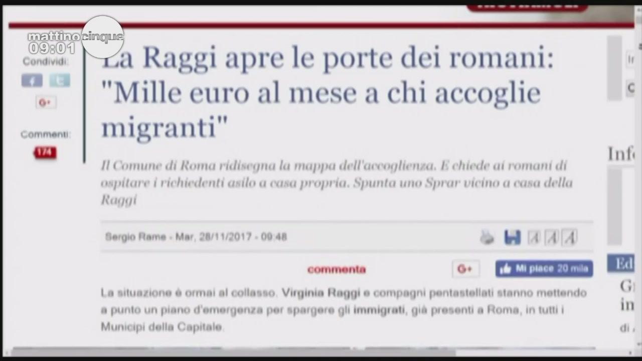 Mille euro a chi ospita profughi: la proposta del sindaco Raggi