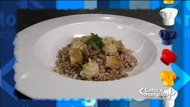 Pollo al curry con insalata di farro e hummus di ceci