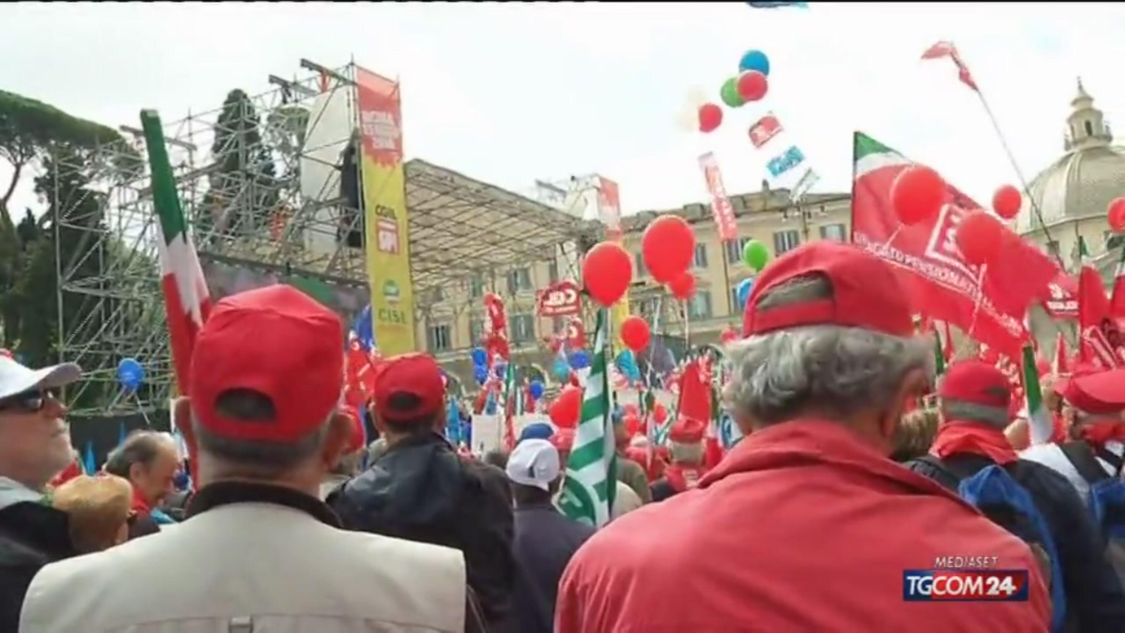 La protesta dei pensionati a Roma