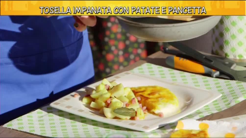 Tosella impanata con patate e pancetta