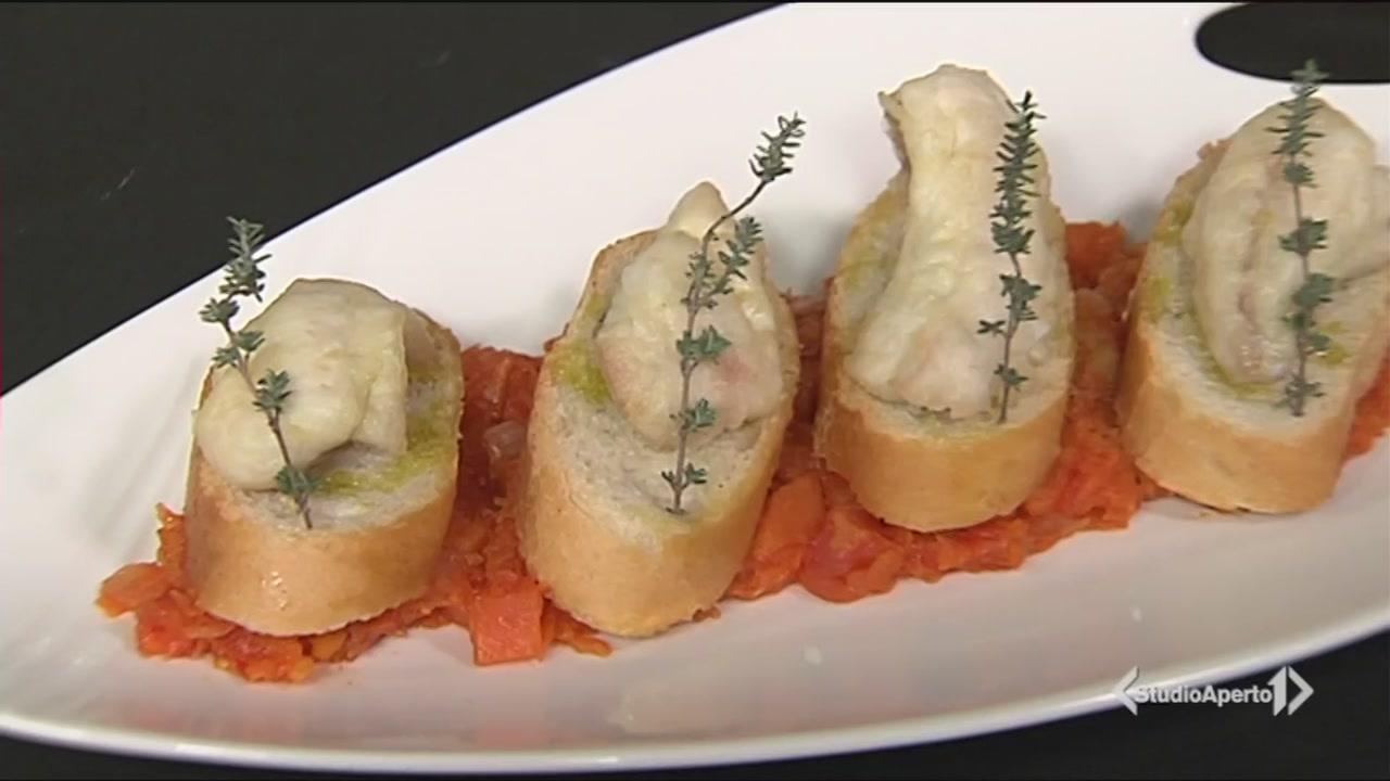 Scaloppe di dentice con salsa di zucca e pomodoro