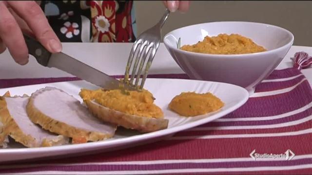 Arista alla senape con salsa di carote