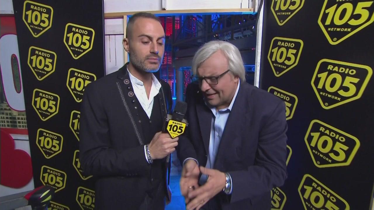 Radio 105 back stage con Vittorio Sgarbi