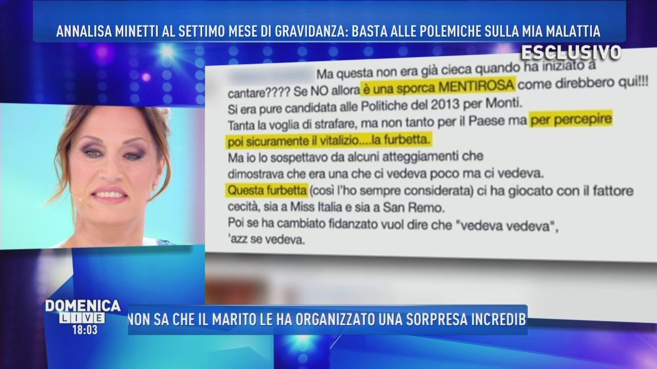 Annalisa Minetti: le polemiche