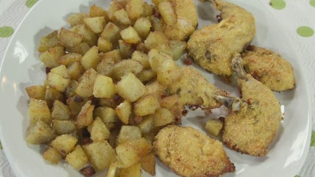 Galletto all'americana con patate sabbiose