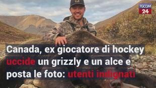 Canada, ex giocatore di hockey uccide un grizzly e un alce e posta le foto: utenti indignati